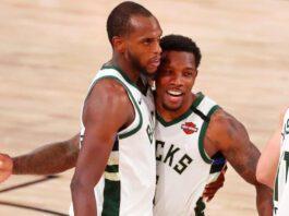 Khris Middleton celebrates with his Milwaukee Bucks teammates